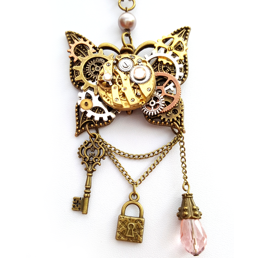 Large Steampunk Butterfly Necklace - Handmade Steampunk Jewellery