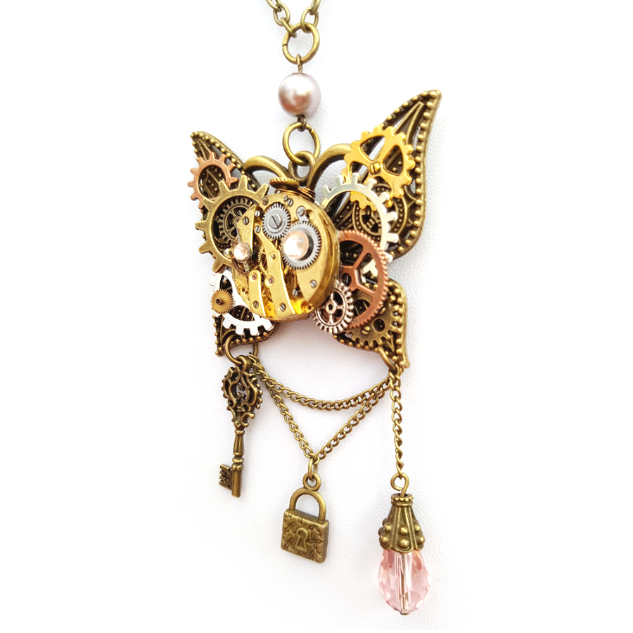 Butterfly Watch Parts Necklace - Handmade Steampunk Jewellery