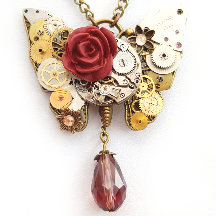 Butterfly and Rose Necklace - Handmade Steampunk Jewellery