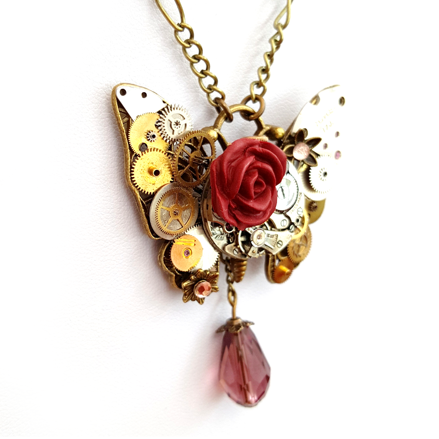 Rose Butterfly Necklace - Handmade Steampunk Jewellery