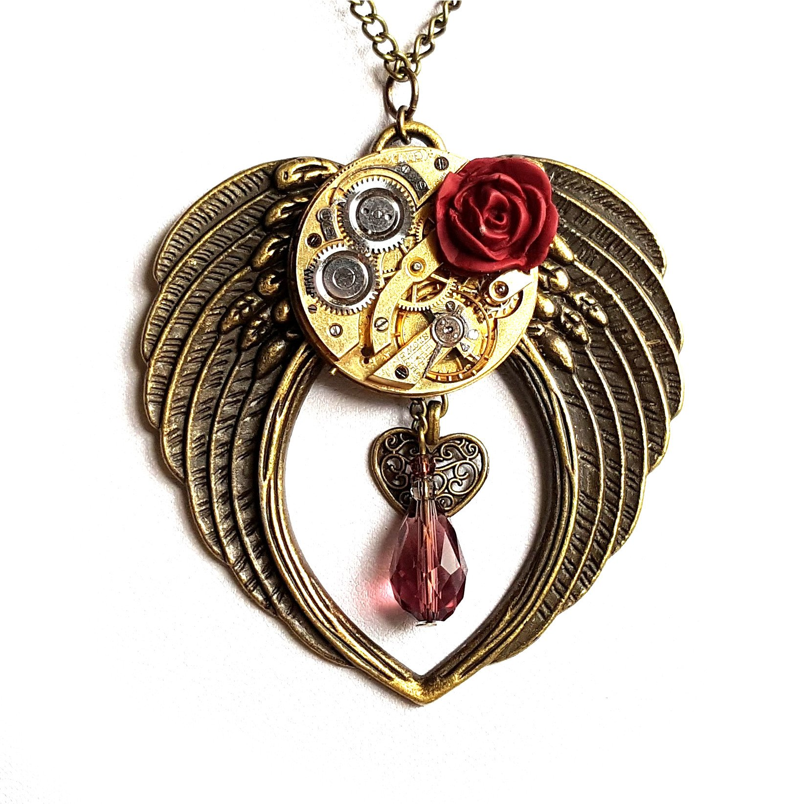 Large Angel Wings Necklace - Handmade Steampunk Jewellery