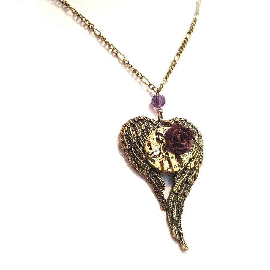 Angel Wings Necklace - Handmade Steampunk Jewellery