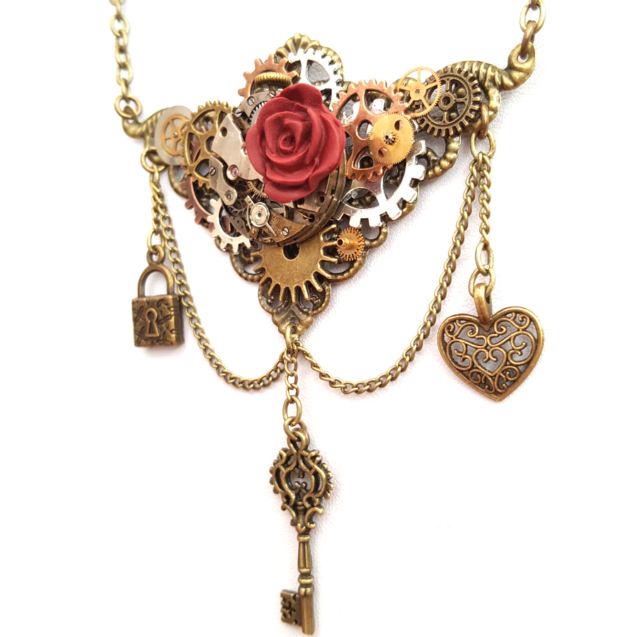 Lock and Key Steampunk Neckace - Handmade Steampunk Jewellery