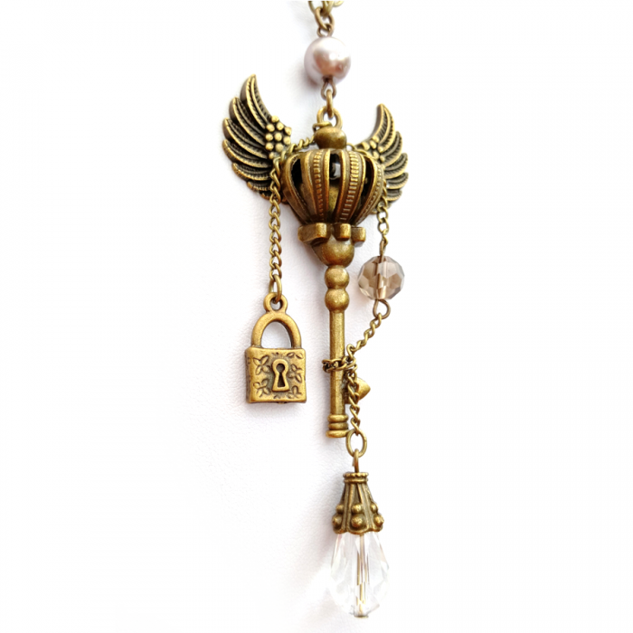 Key with wings necklace - Handmade Steampunk Jewellery
