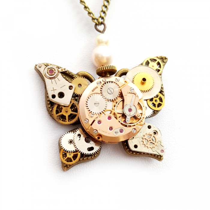 Steampunk Watch Parts Butterfly Necklace - Handmade Steampunk Jewellery