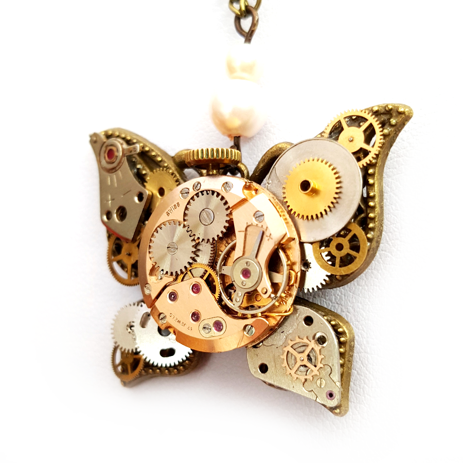 Steampunk Watch Parts Butterfly - Handmade Steampunk Jewellery