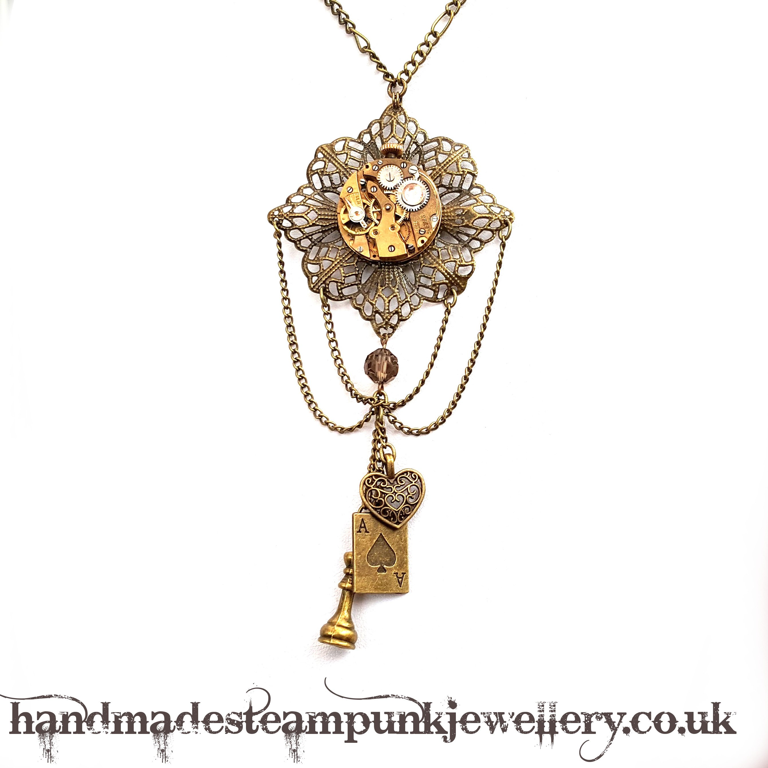 Diamond Filigree Steampunk Necklace - Handmade Steampunk Jewellery