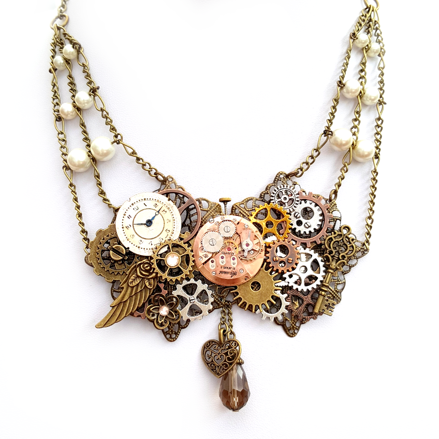 Gears necklace statement piece - Handmade Steampunk Jewellery