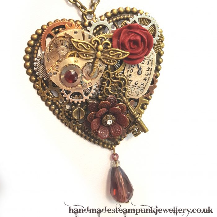 Heart & Rose Pendant - Handmade Steampunk Jewellery