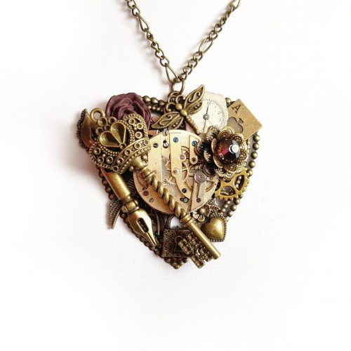 Dark Heart Pendant - Handmade Steampunk Jewellery