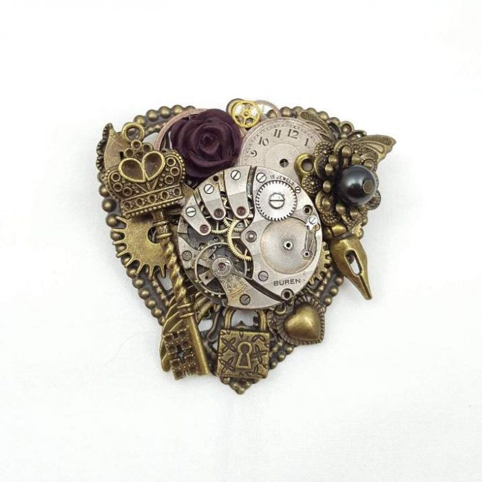 Steampunk Dark Heart Brooch