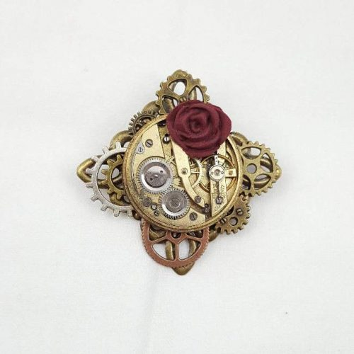 Steampunk Red Rose Brooch