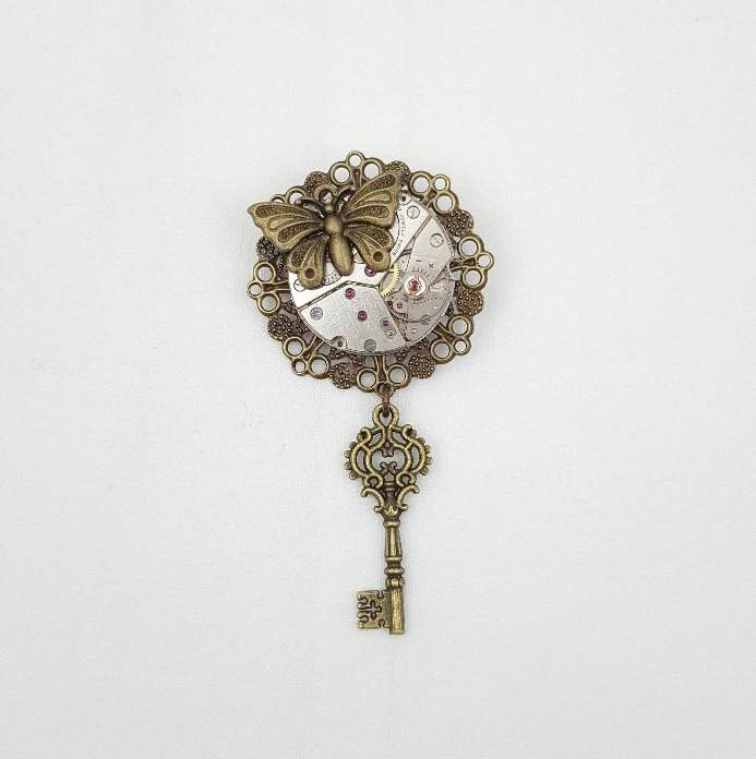 Steampunk Butterfly Key Brooch