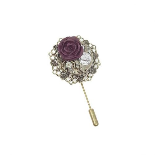 Steampunk Dark Rose Pin