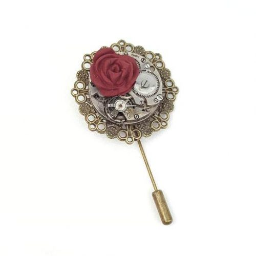 Steampunk Red Rose Pin