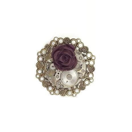 Steampunk Dark Rose Brooch