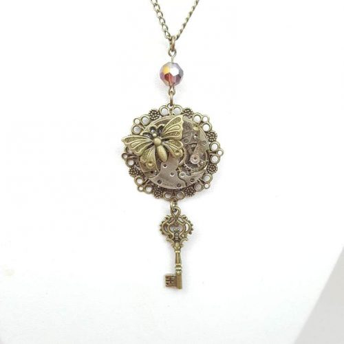 Steampunk Butterfly Key Necklace